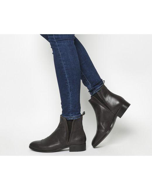 Office | Black Alpine Flat Chelsea Boots | Lyst