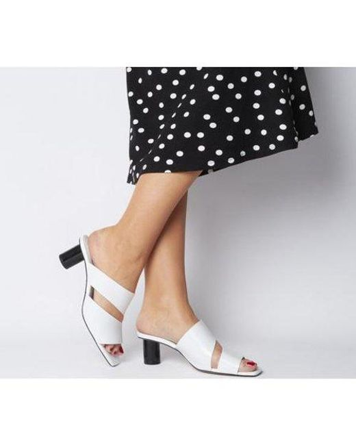 Office White Merlot Two Part Cylindrical Heel Mule