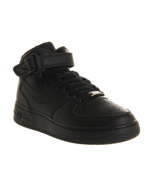 Nike - Black Air Force Mid '07 Leather High-Top Sneakers - Lyst ...