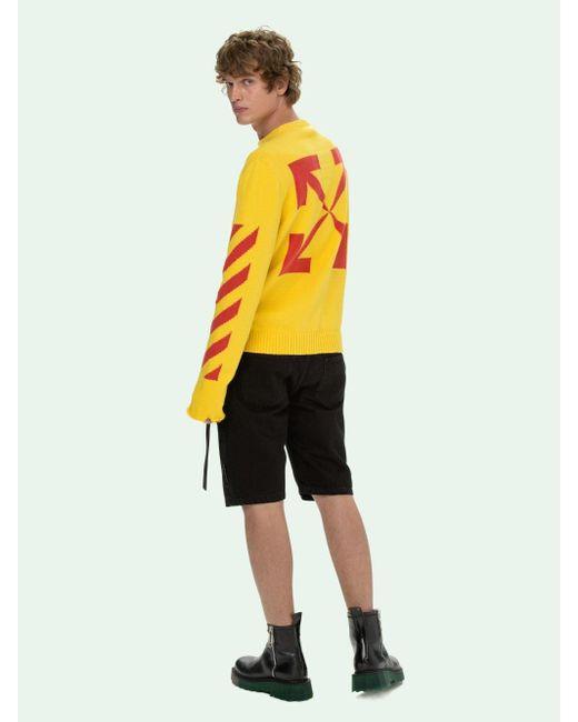 メンズ Off-White c/o Virgil Abloh Diagonal クルーネック セーター Yellow