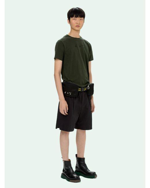 メンズ Off-White c/o Virgil Abloh ロゴ クルーネック Tシャツ Green
