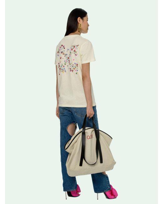 Off-White c/o Virgil Abloh フローラル ロゴ Tシャツ Natural