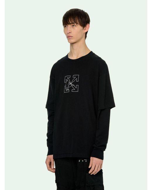 メンズ Off-White c/o Virgil Abloh レイヤード Tシャツ Black
