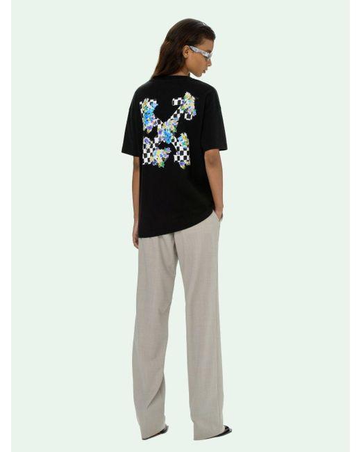Off-White c/o Virgil Abloh チェック ロゴ Tシャツ Black