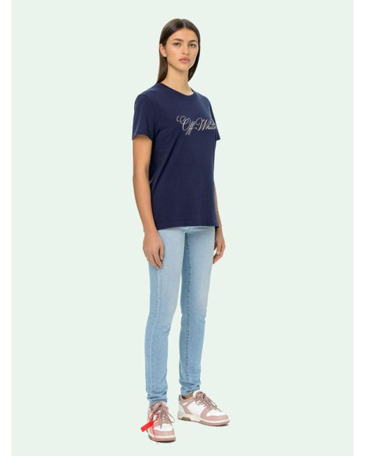 Off-White c/o Virgil Abloh ロゴ Tシャツ Blue