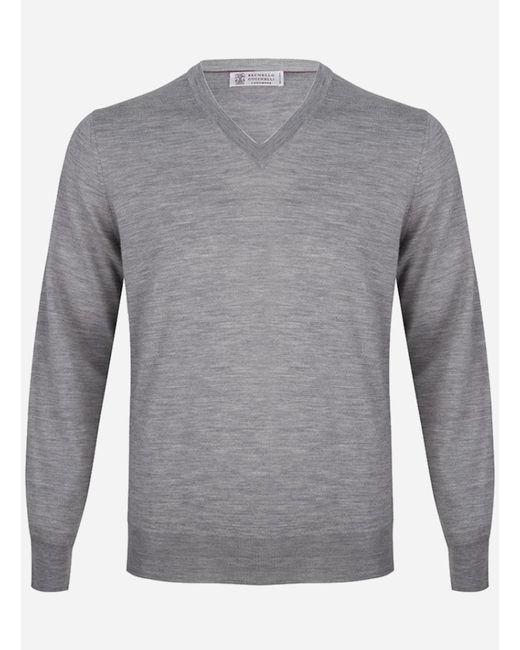 Brunello Cucinelli Regular-fit V-hals Wol-cashmere Trui Lichtgrijs in het Gray voor heren