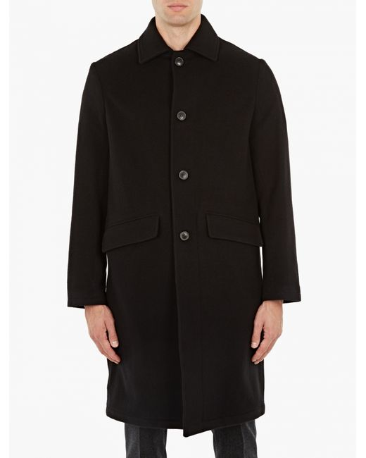 our legacy black cashmere blend manteau car coat in blue. Black Bedroom Furniture Sets. Home Design Ideas