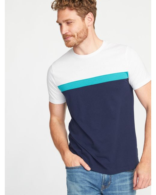 Old Navy - Blue Soft-washed Color-block Crew-neck Tee for Men - Lyst