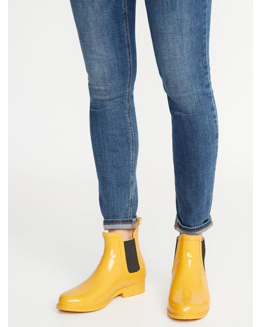 Old Navy Rubber Ankle Rain Boots For Women In Mustard -7972