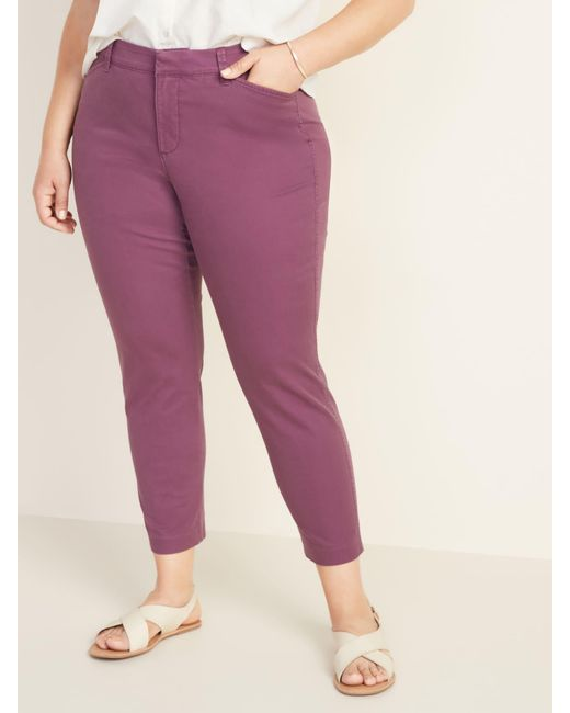 Old Navy Purple Mid-rise Secret-slim Pockets Plus-size Pixie Chinos