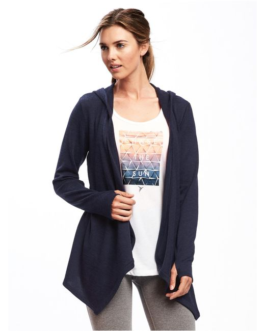 Old Navy - Blue Open-front Jersey Hoodie - Lyst