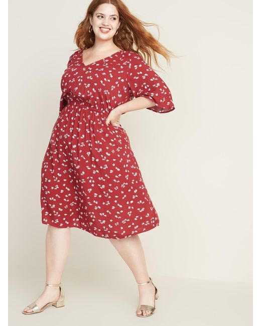 Women\'s Red Waist-defined Elbow-sleeve Plus-size Dress