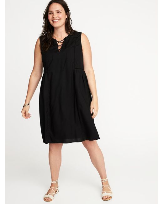 Lyst Old Navy Plus Size Lace Up Front Swing Dress In Black