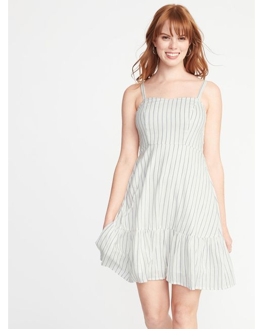 205889af76f Old Navy Striped Fit   Flare Cami Dress in White - Save 50% - Lyst