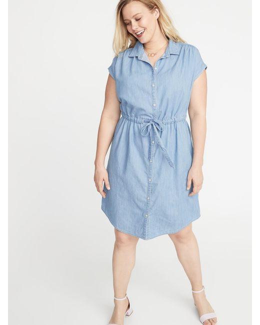 Women\'s Blue Chambray Cinch-tie Plus-size No-peek Shirt Dress