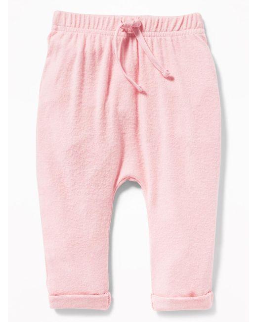 Old Navy - Pink Plush-knit Jersey Pants - Lyst