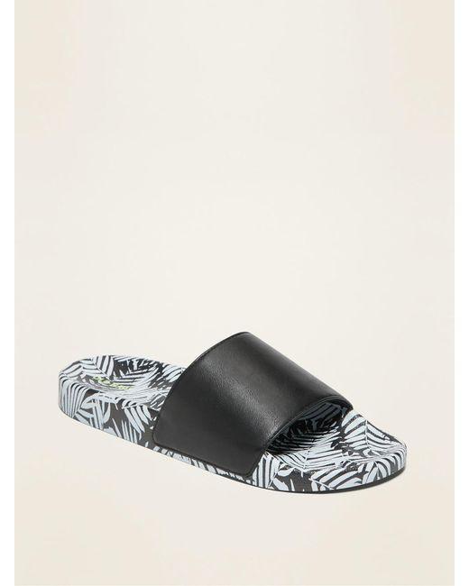 Old Navy Black Faux-leather Pool Slide Sandals for men