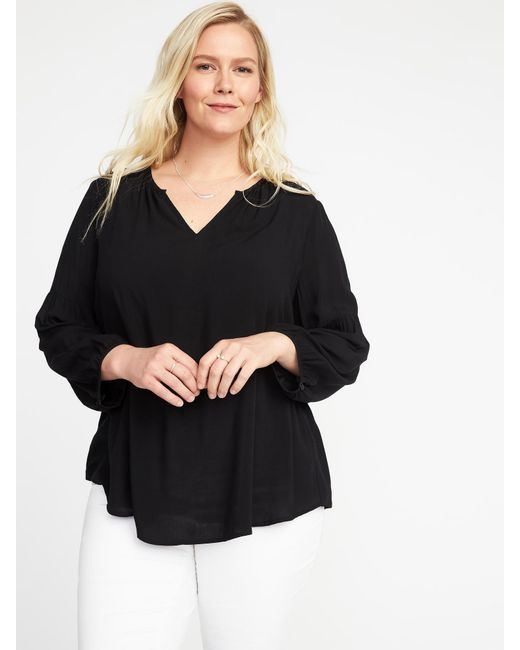 Old Navy - Black Relaxed Plus-size Shirred Blouse - Lyst