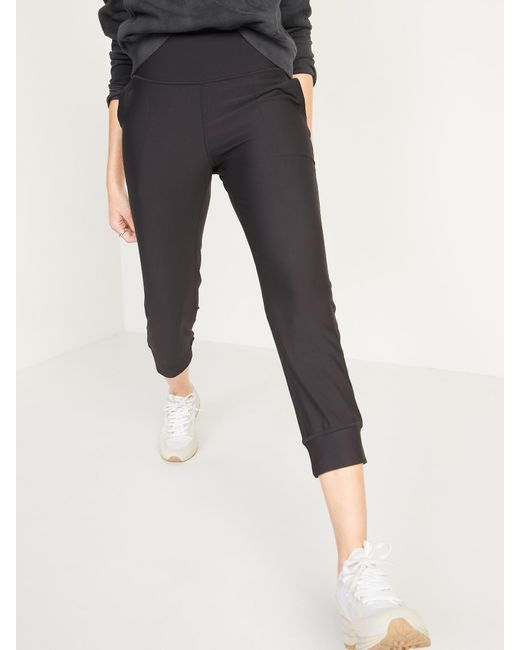 Old Navy Black High-waisted Powersoft Crop Jogger Pants
