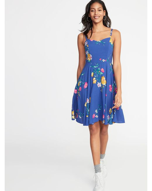 ded4a9ff3 Old Navy Fit & Flare Floral Cami Dress in Blue - Lyst