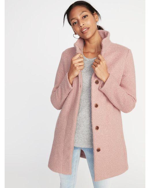 Old Navy - Pink Plus-size Textured-bouclé Coat - Lyst