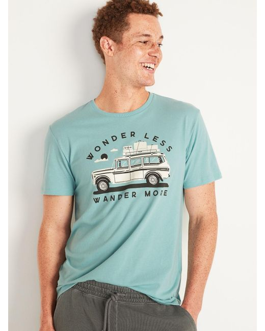 Old Navy Blue Soft-washed Crew-neck Graphic Tee for men