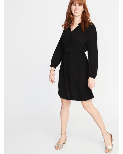 bb0977188418 Lyst - Old Navy Waist-defined Ruffle-trim Dress in Black