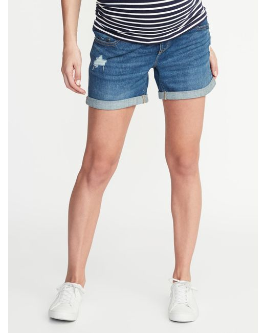 2aa6cd3e17 Old Navy - Blue Maternity Front-low Panel Distressed Boyfriend Denim Shorts  - Lyst ...