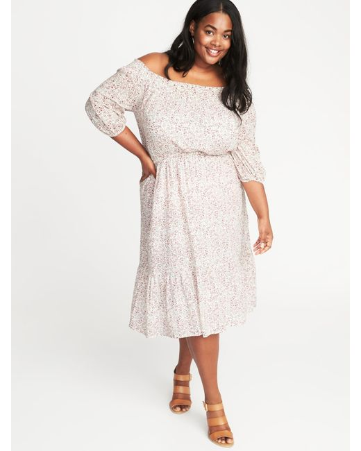 Lyst Old Navy Waist Defined Off The Shoulder Plus Size Dress In Pink