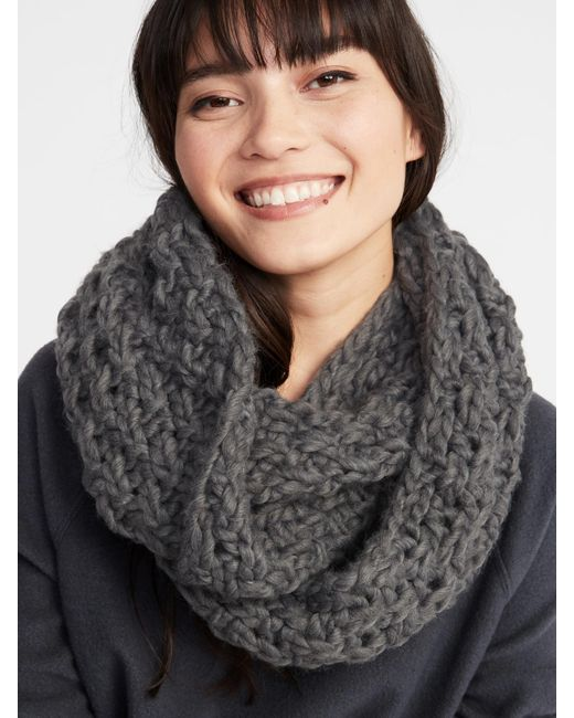 Old Navy - Gray Textured Basket-weave Infinity Scarf - Lyst