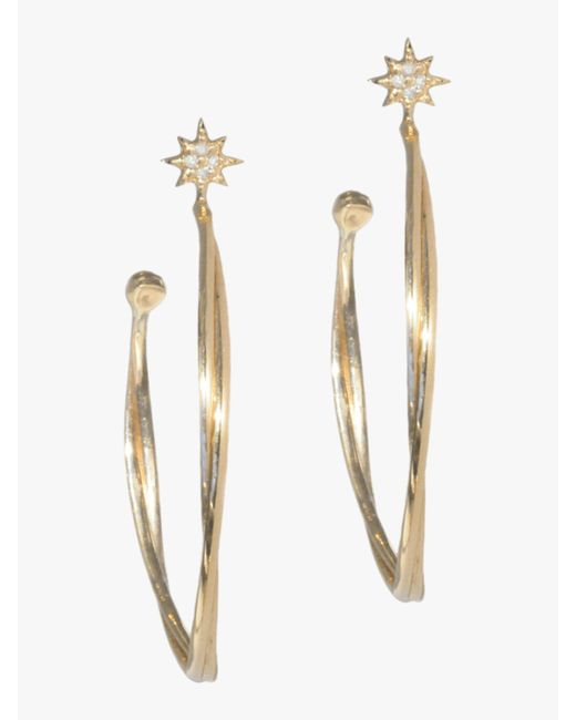 Anzie - Metallic North Star Twist Hoop Earrings - Lyst