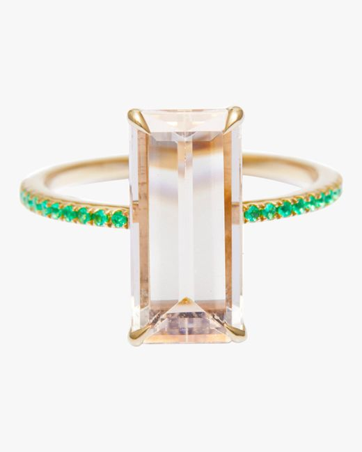 Yi Collection Multicolor Morganite And Emerald Spring Ring
