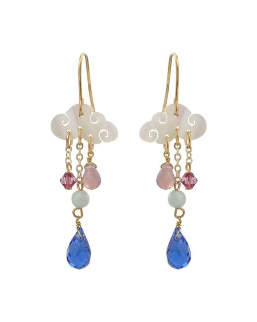 Oliver Bonas Blue Cloud & Raindrop Charm Drop Earrings