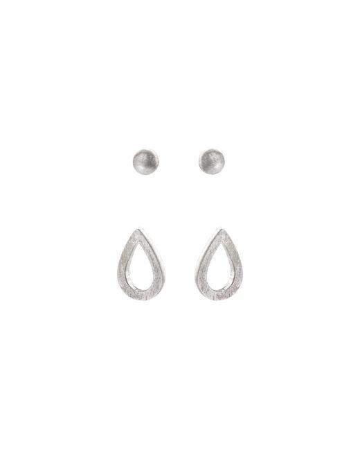 0044249a4 ... closeout oliver bonas metallic nina mixed shape silver stud earrings  set of two lyst 6dde4 ec6ba