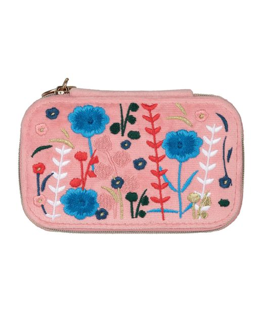 Women S Pink Hana Embroidered Travel Jewellery Boxes