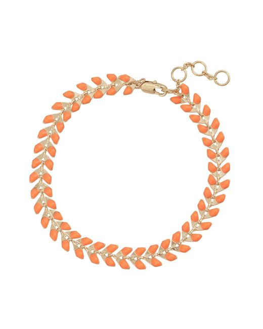 Oliver Bonas Metallic Piper Orange Chevron Chain Bracelet