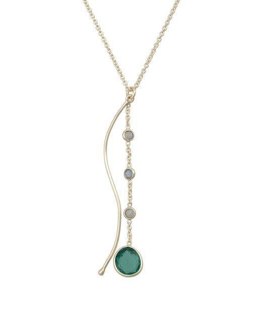 Oliver Bonas Metallic Everett Curved Bar & Labradorite Stone Gold Plated Pendant Necklace