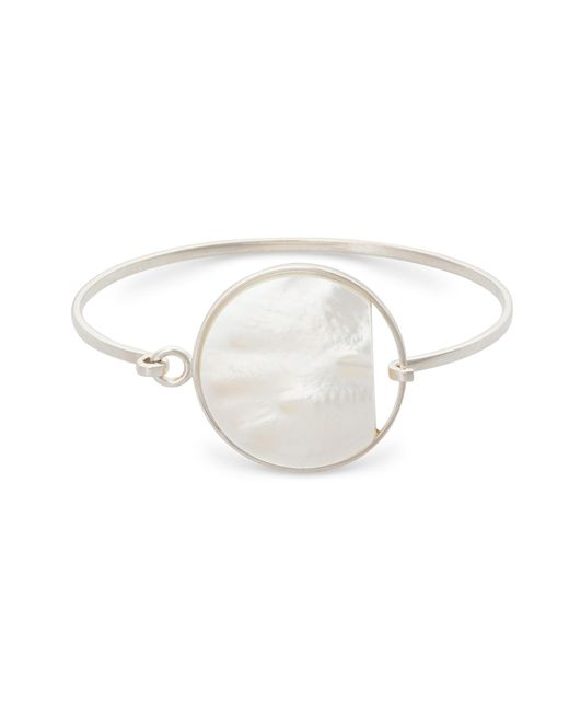Oliver Bonas - Metallic Charo Statement Mother Of Pearl Silver Bangle - Lyst