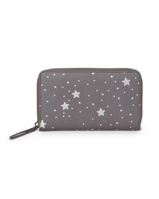 Oliver Bonas Cosmic Print Gray Zipped Wallet