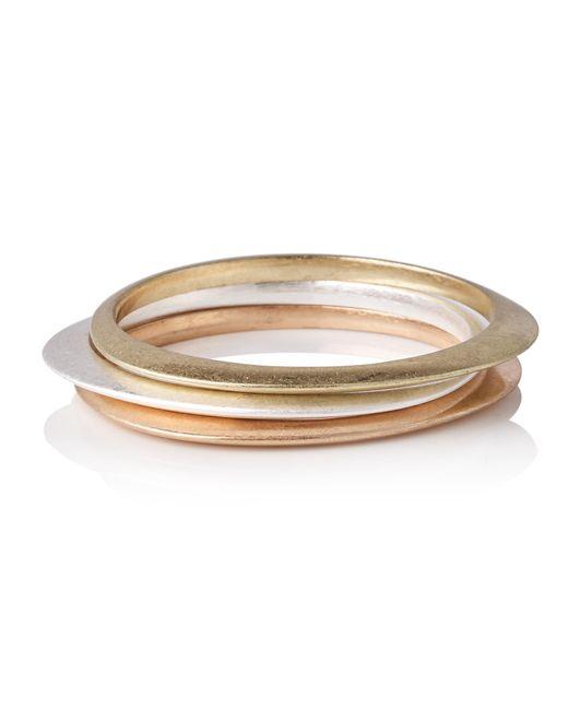 Oliver Bonas - Metallic Set Of Three Ryle Organic Curved Bangles - Lyst