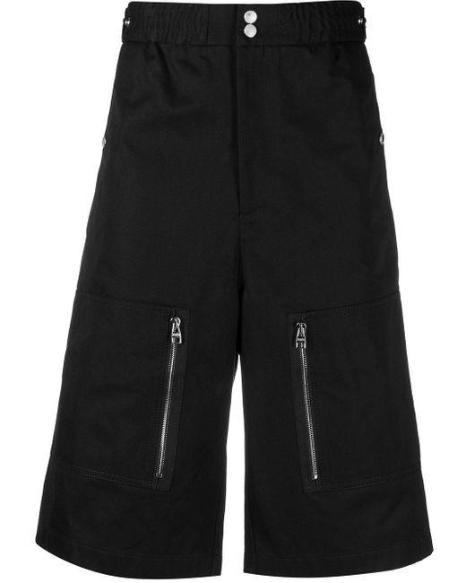 Alexander McQueen Black White Cotton Multi-pocket Bermuda Shorts for men