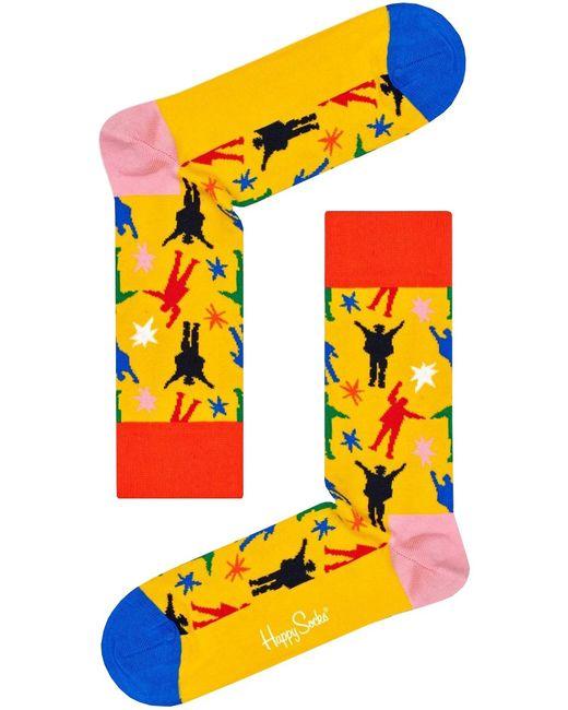 Happy Socks Orange Mehrfarbige/bunte Socken Beatles Helping Hands Sock