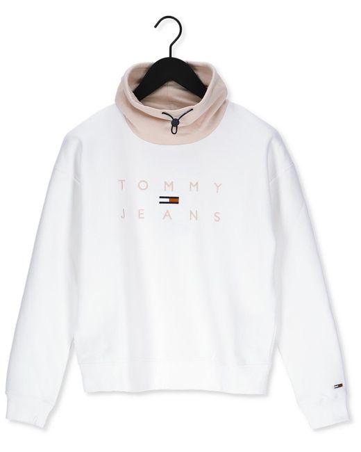 Tommy Hilfiger White Sweater Tjw Bxy Tonal Logo 3 Funnel Ne