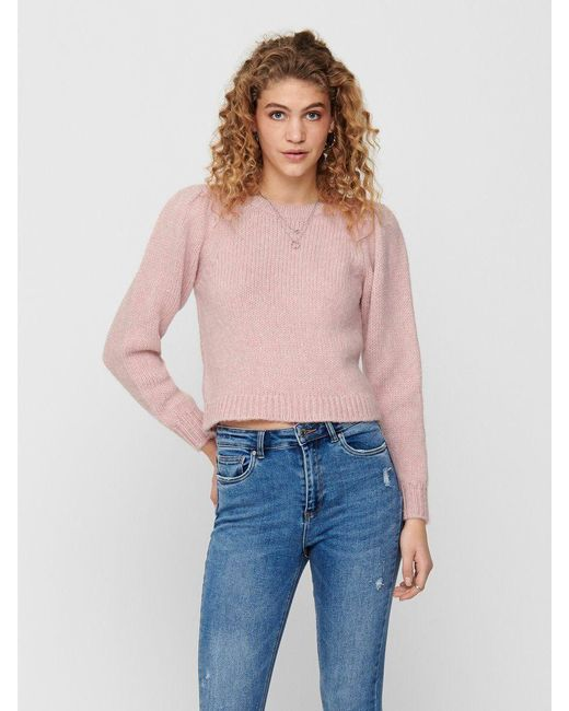 ONLY Pink Einfarbiger Strickpullover