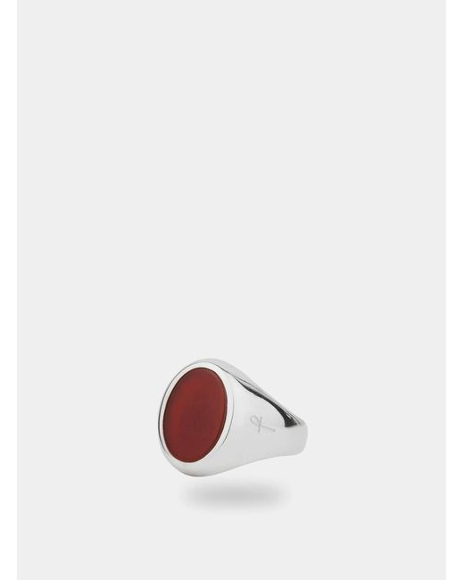 Phira London Metallic Silver / Carnelian Jamestown Ring for men