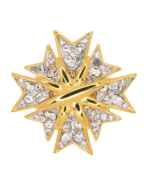 Kenneth Jay Lane - Metallic Polished Gold And Crystal Maltese Cross Pin - Lyst