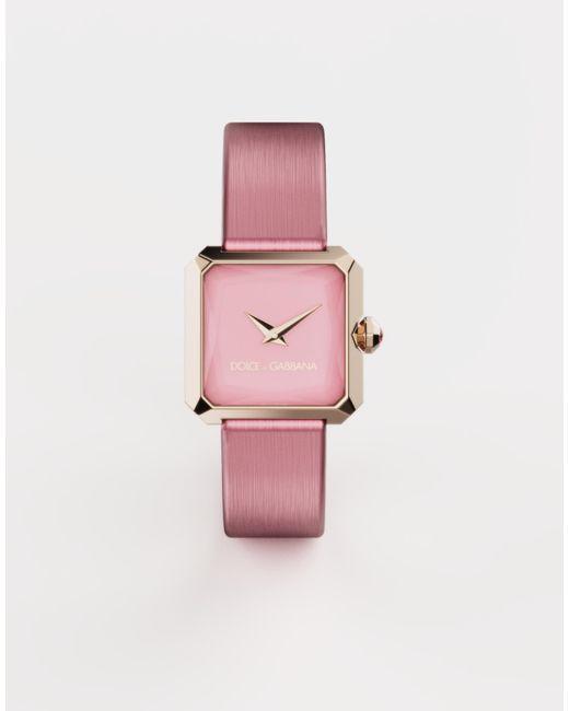 Dolce & Gabbana Pink Gold Watch With Silk Strap