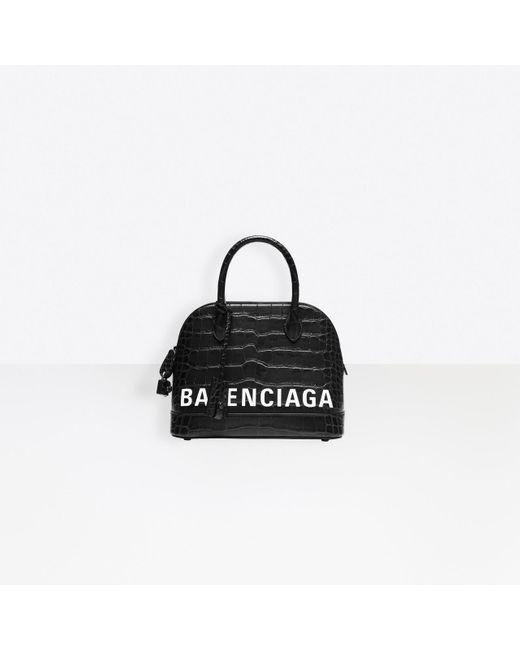Balenciaga Black Ville Top Handle S Crocodile Embossed