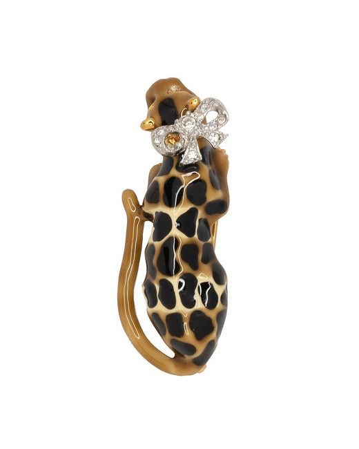 Kenneth Jay Lane - Metallic Leopard Bow Pin - Lyst