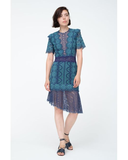 Womens Blue Lola Lace Dress